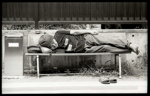 Maybe you think of the homeless man sleeping by the roadside?  (Photo by JamesFischer)